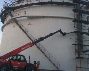 Erection of pipeline for tank cooling and extinguishing
